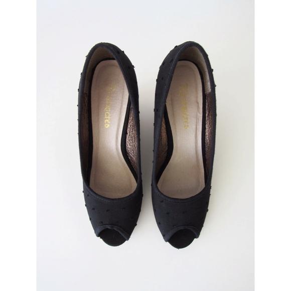 Restricted Shoes - Black Polka Dot, Peep-Toe Cork Heel Size 7.5